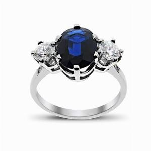 Sapphire & Diamond White Gold Three Stone Ring 11 x 9 mm